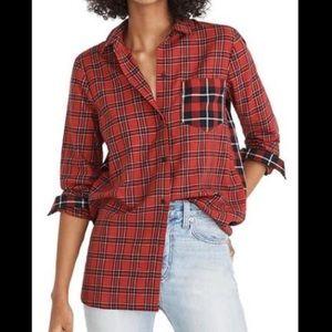 Madewell red plaid classic ex-boyfriend shirt